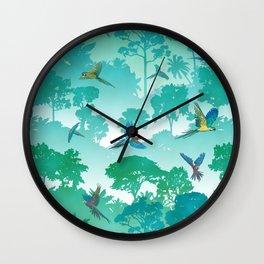Macaw Canopy // Cyan Wall Clock