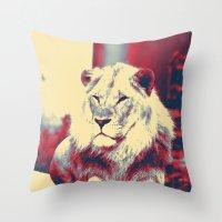 popart Throw Pillows featuring Lion popart by MehrFarbeimLeben