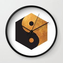 Yin Yang Geometrical Zen Meditation Yoga Gold Black Balance Minimalist   Wall Clock