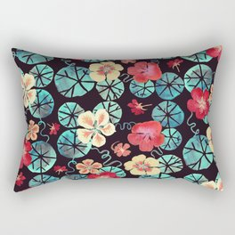 Watercolor Nasturtiums: In the Still of the Night Rectangular Pillow