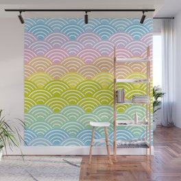 Seigaiha or seigainami literally means blue wave of the sea. rainbow pattern abstract scale Wall Mural