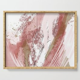 Sugar and Spice: a minimal, abstract mixed-media piece in pink and brown by Alyssa Hamilton Art Serving Tray
