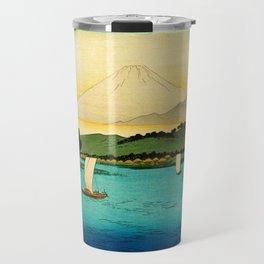 Sailboats on River Mount Fuji Japan Travel Mug