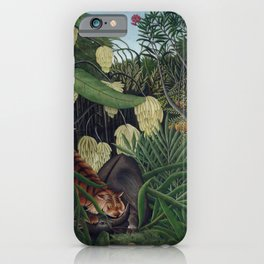 Henri Rousseau, The Equatorial Jungle, monkeys in the forest iPhone Case