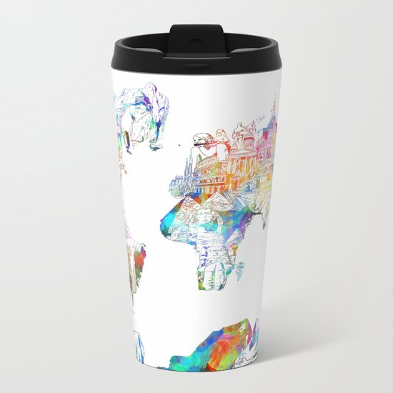 world map landmarks collage Metal Travel Mug