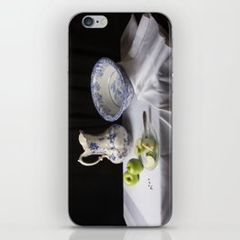 Delft blue and green apples still life iPhone Skin