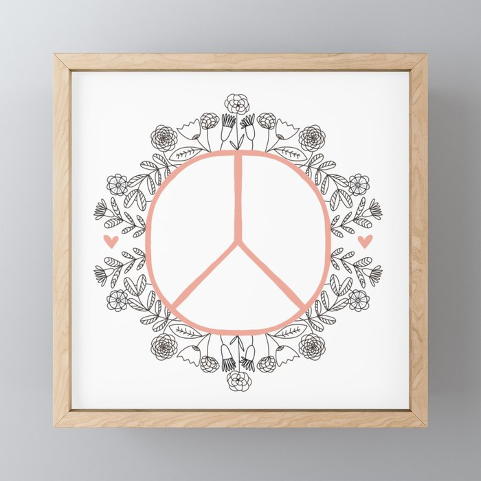 Peace and Love in Bloom Framed Mini Art Print
