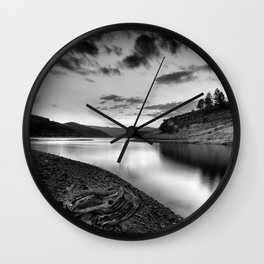 """""""Silver Lake At Sunset"""". Bw Wall Clock"""
