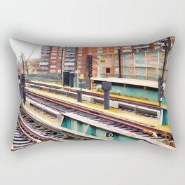 Subway platform at Bay 50 street Rectangular Pillow