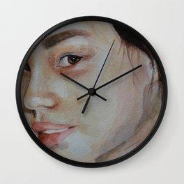 Watercolor portrait little pretty girl Wall Clock