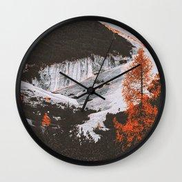 mountains, trees, landscape, slopes, stone Wall Clock
