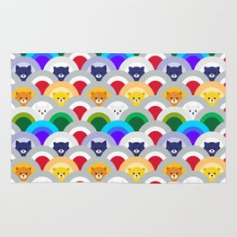 Japanese Wave Pattern cat Rainbow Rug