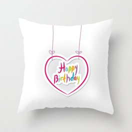 Happy birthday. pink heart on White background. Throw Pillow