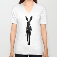 ruben V-neck T-shirts featuring Lepus by Ruben Ireland