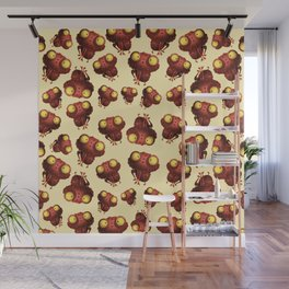 Cute Frogs with Light Yellow Background Wall Mural
