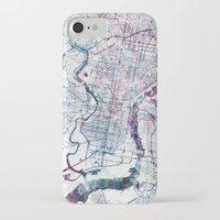 philadelphia iPhone & iPod Cases featuring Philadelphia map by MapMapMaps.Watercolors
