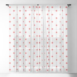 Dotted (Red & White Pattern) Sheer Curtain