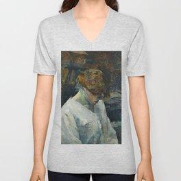 """Henri de Toulouse-Lautrec """"La Rousse in a White Blouse"""" Unisex V-Neck"""