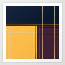 Abstract graphic I Dark blue Purple Yellow Art Print