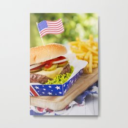 Burger with fries on an outdoor table in bright light Metal Print