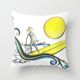 Girl Surfer Throw Pillow