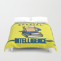 fallout Duvet Covers featuring Intelligence S.P.E.C.I.A.L. Fallout 4 by sgrunfo