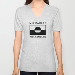 Milwaukee Wisconsin - Black - People's Flag of Milwaukee Unisex V-Neck