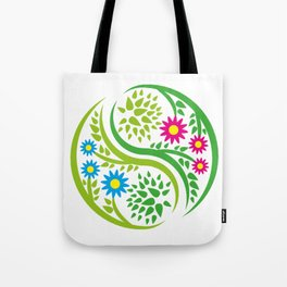 Yin Yang Flower Tote Bag
