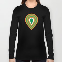 retro sixties inspired fan pattern in green and orange Long Sleeve T-shirt