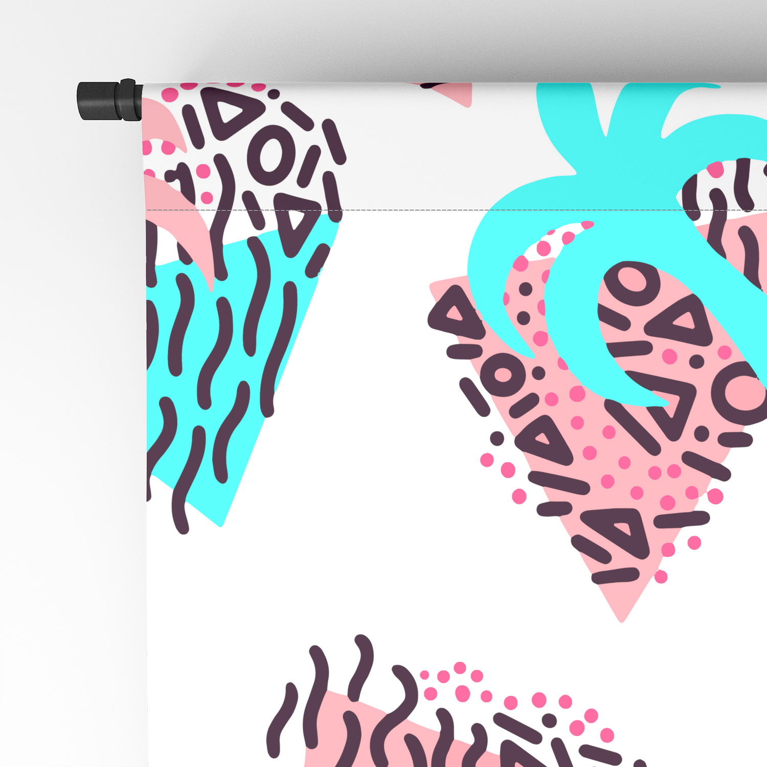 Cute Girly Retro 90s Palm Tree Doodles Pattern Blackout Curtain by  lafemmeart