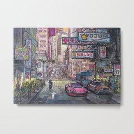 Night city. CYBERPUNK Hong Kong Metal Print