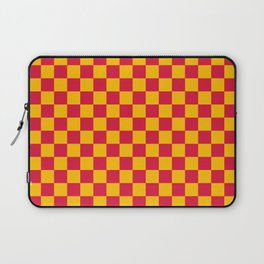 Amber Orange and Crimson Red Checkerboard Laptop Sleeve