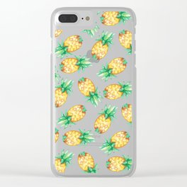Tropical sunshine yellow green watercolor pineapple Clear iPhone Case