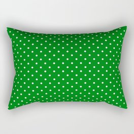 Small White Polkadot Love Heart on Christmas Green Rectangular Pillow