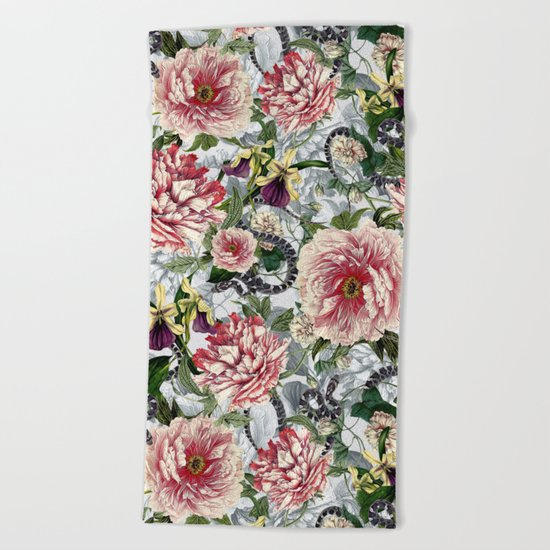 Snakes And Flowers Beach Towel