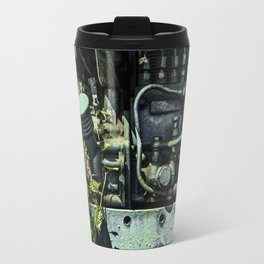 Old Tractor Weed Engine in Blue Travel Mug
