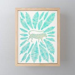 Jaguar – Turquoise & Mint Palette Framed Mini Art Print