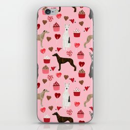 Whippet valentines day cupcakes love hearts dog breed pet portrait whippets pure breed dog gifts iPhone Skin