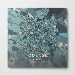 Odense, Denmark - Cream Blue Metal Print