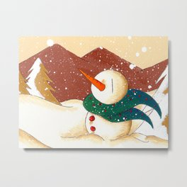 Snow by the Mountains Metal Print