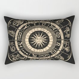 Vintage Zodiac & Astrology Chart | Charcoal & Gold Rectangular Pillow