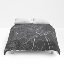 Fayetteville Map, USA - Gray Comforters