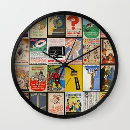 Full Vintage Poster Collage Wall Clock