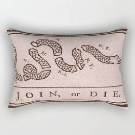 Original Join or Die Benjamin Franklin Political Cartoon Rectangular Pillow
