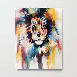 Striking Lion Metal Print