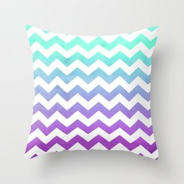Purple Mint Aqua Ombre Chevron Pattern Throw Pillow