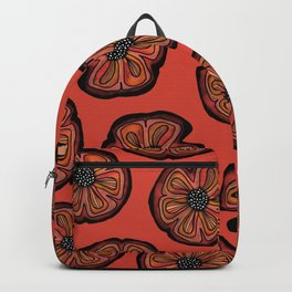 Rusted Poppy Pattern - red and brown poppies autumn fall Backpack