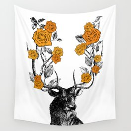 The Stag and Roses | Orange Wall Tapestry