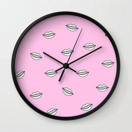 Pink Lips illustration Wall Clock