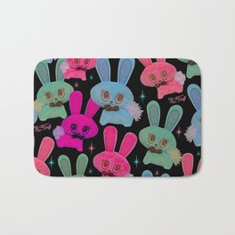 Cute Bunnies on Black Bath Mat